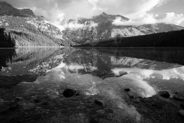 The still waters of Phelps Lake. In the foreground, rocks submerged in the water, and in the background, Albright Peak and Death Canyon.