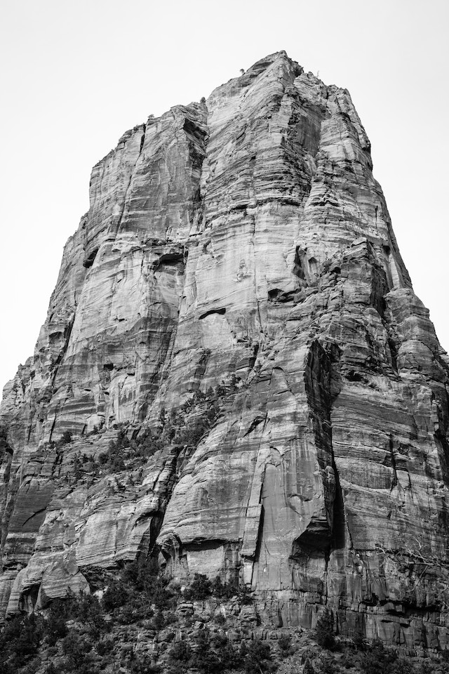 The top of Angels Landing, seen from the valley floor at Zion.