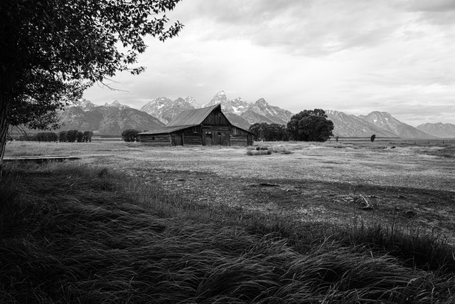 The T.A. Moulton Barn on an overcast morning, with the Tetons in the background.