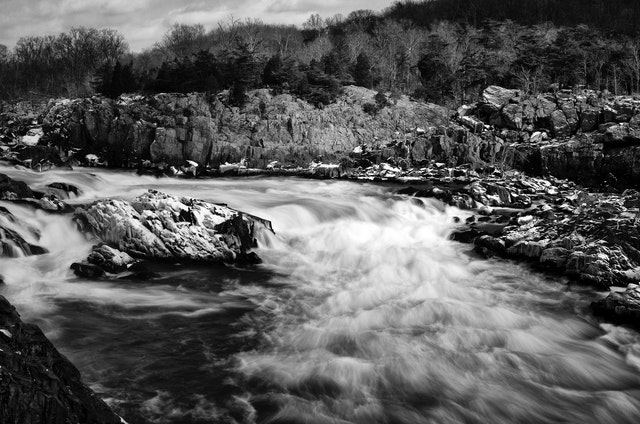 Great Falls in the winter, from the Virginia side.