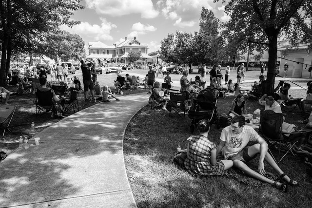 People waiting for the 2017 solar eclipse near the L&N Depot Museum in Etowah, Tennessee.
