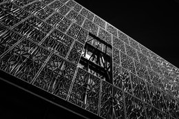 Detail of the facade of the National Museum of African American History and Culture.