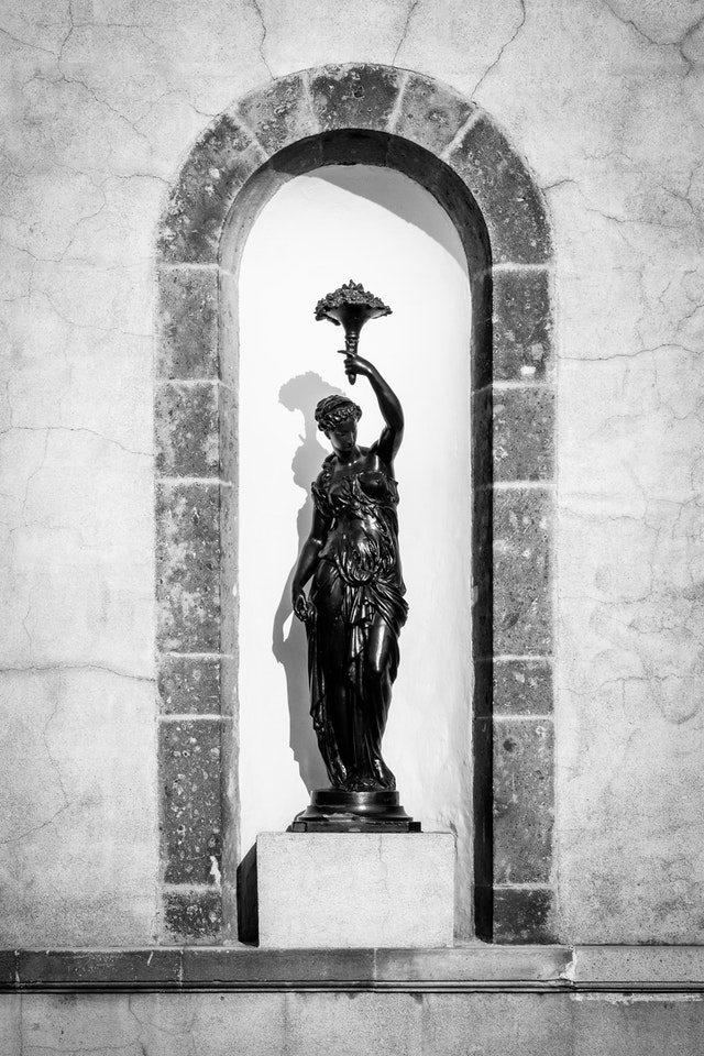 One of the statues on the tower of the Chapultepec Castle.