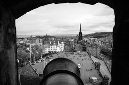 An artillery piece overlooking the Edinburgh Castle esplanade.