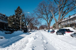 Kentucky Avenue in Capitol Hill, completely covered in snow.