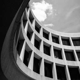 The interior facade of the Hirshhorn Museum in Washington, DC.