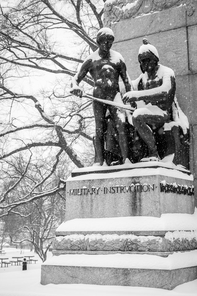 Snow-covered Military Instruction statue at Lafayette Square.