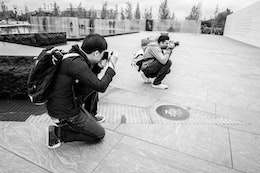 DZ and Niv, taking photos of the American Veterans Disabled for Life Memorial in Washington, DC.