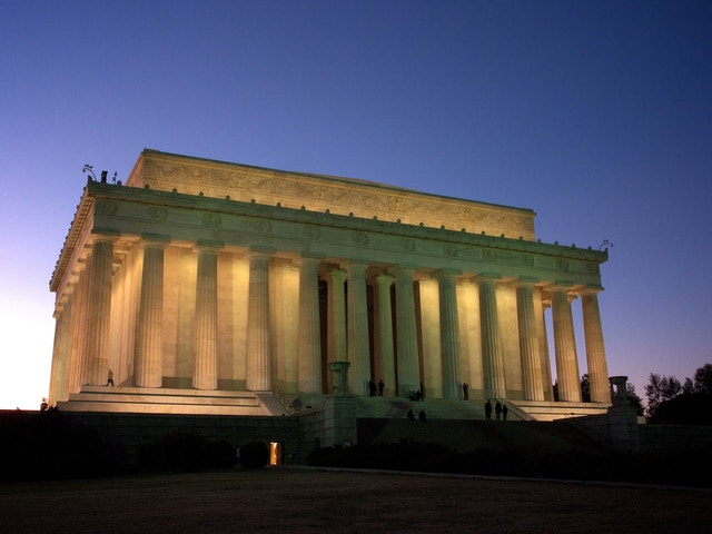 The Lincoln Memorial, at dusk.