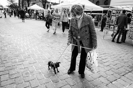 A woman trying to convince Lulu, a very reluctant black chihuahua, to walk along 7th Street near Eastern Market.