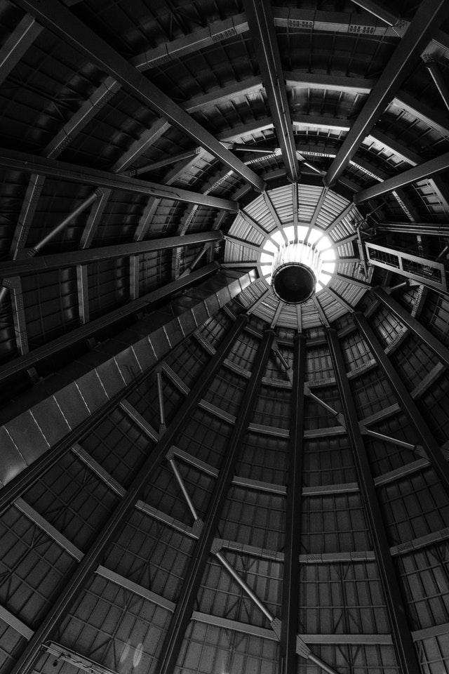 The interior of the cone of the hot shop of the Museum of Glass in Tacoma, Washington.