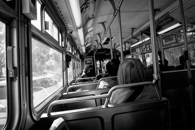 Inside view of a Muni bus.