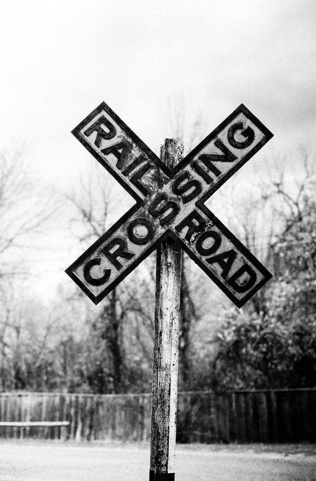 A railroad crossing sign at the Shelburne Museum, Vermont.