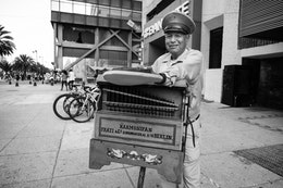 An organ grinder in Mexico City.