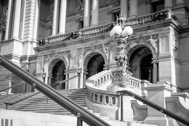 The entrance to the Library of Congress in Washington, DC.