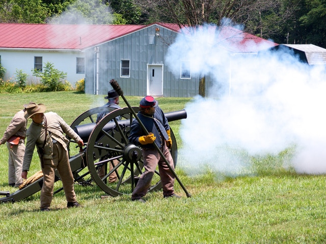 Confederate reenactors perform an artillery demonstration with a Parrott rifle during the anniversary of the Battle of Monocacy.