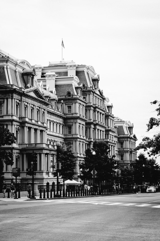 The Old Executive Office Building in Washington, DC, in black and white.
