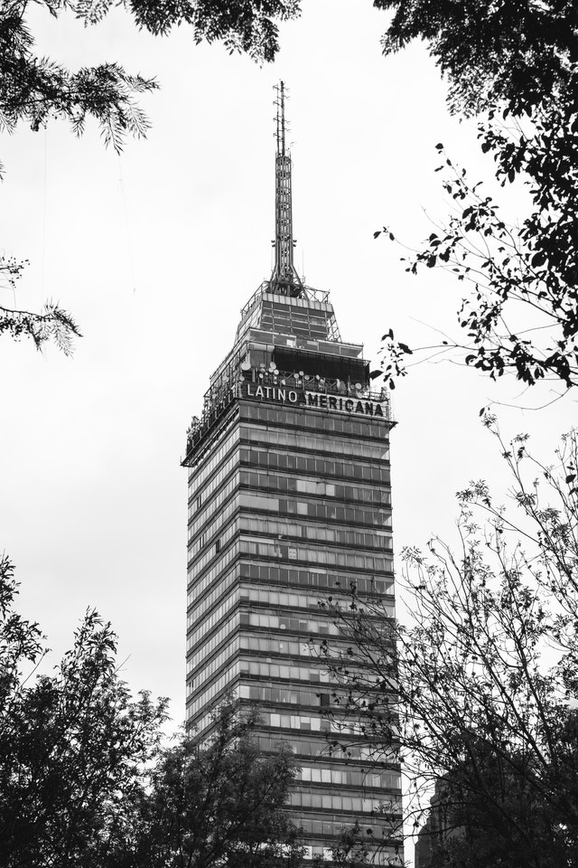 The Torre Latinoamericana, from the Alameda Central.