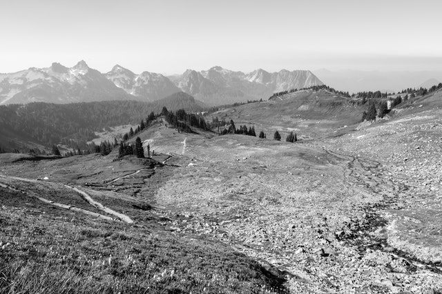 The landscape of Mount Rainier National Park, seen from the switchbacks of the Golden Gate Trail.