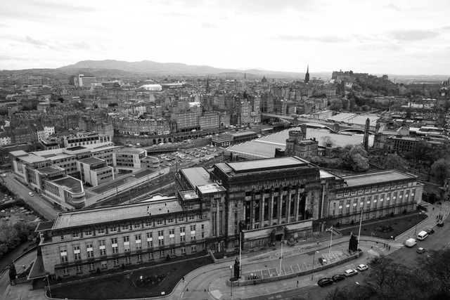 View of Old Town Edinburgh from the top of the Nelson Monument on Calton Hill.