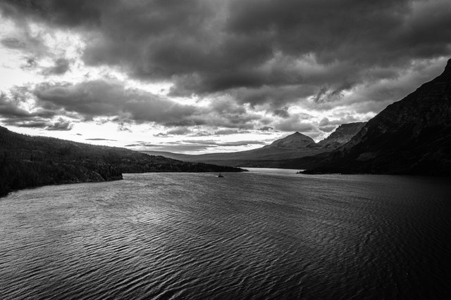 Saint Mary Lake seen from the Going-to-the-Sun Road at dawn on a very stormy day.