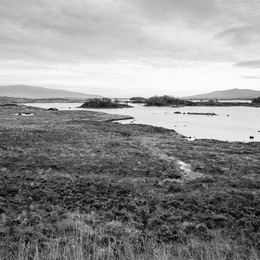 View of the Rannoch Moor landscape, with Loch Bà in the distance.