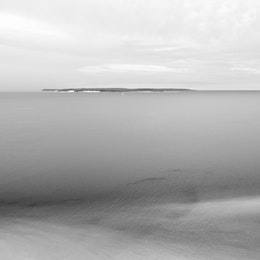 Lake Michigan and North Manitou Island, seen from Pyramid Point.