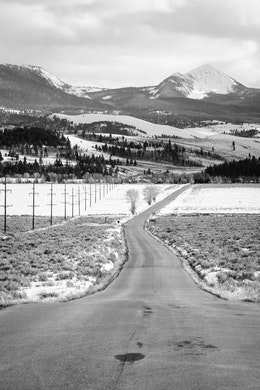 The Gros Ventre road at Grand Teton National Park, extending to the horizon.