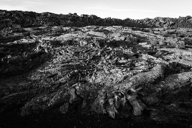 A field of pāhoehoe lava at the Lava Cascades.