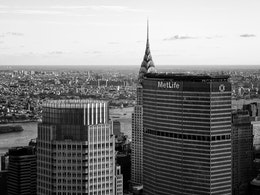 The Chrysler and MetLife buildings from Rockefeller Center.