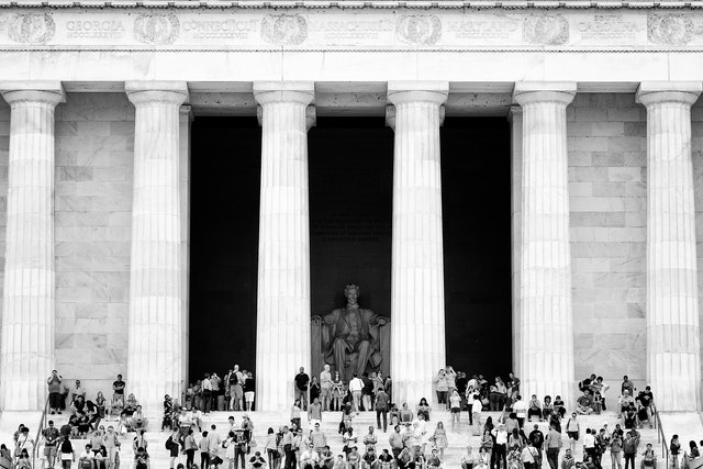 The Lincoln Memorial, full of tourists.