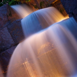 Long-exposure shot of the waterfalls at the Franklin Delano Roosevelt Memorial, in Washington, DC.