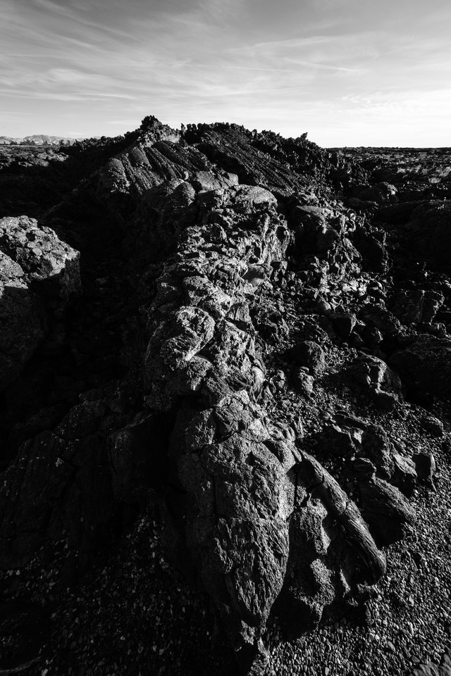 A big rope of pahoehoe lava alongside the Cave Area trail of Craters of the Moon.