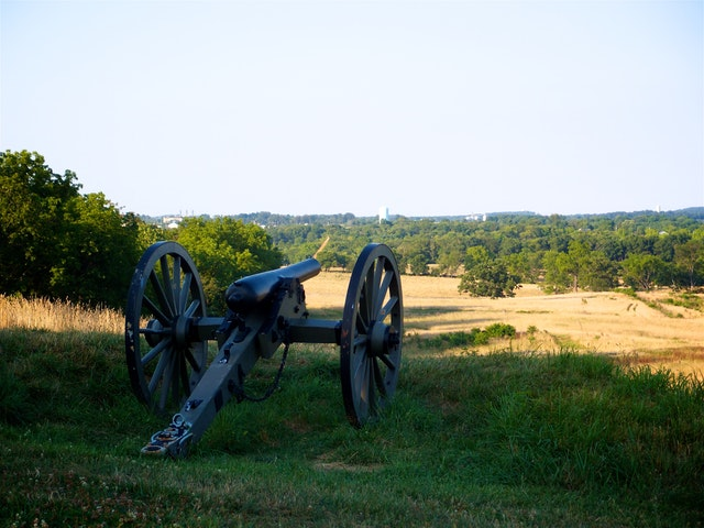 An artillery piece overlooking Cemetery Hill in Gettysburg, PA.
