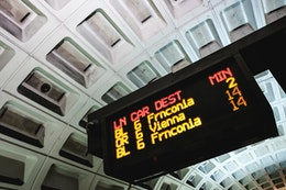 The Metro arrivals board at Potomac Avenue Metro Station.