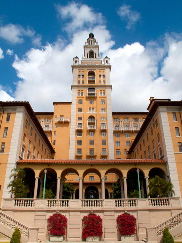 Front view of the Biltmore Hotel in Coral Gables.