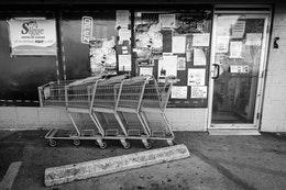 Shopping carts in front of a latin grocery store in Southside Chattanooga.