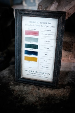 "A ""standard colors for pipe lines"" sign at Thomas Edison's Laboratory."