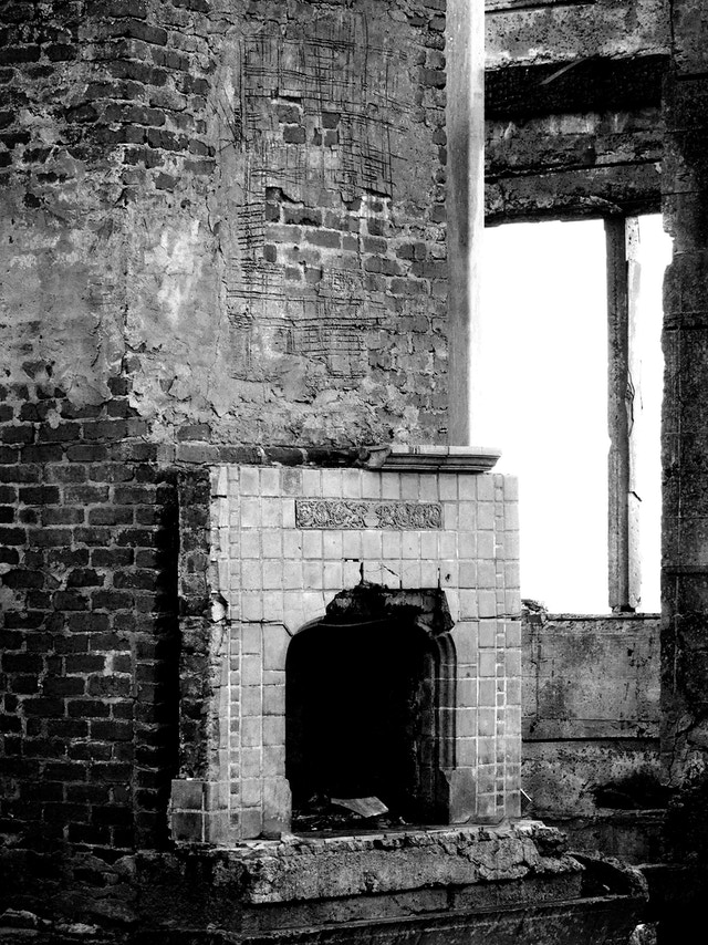 A demolished building at Warden's Home, Alcatraz Island.