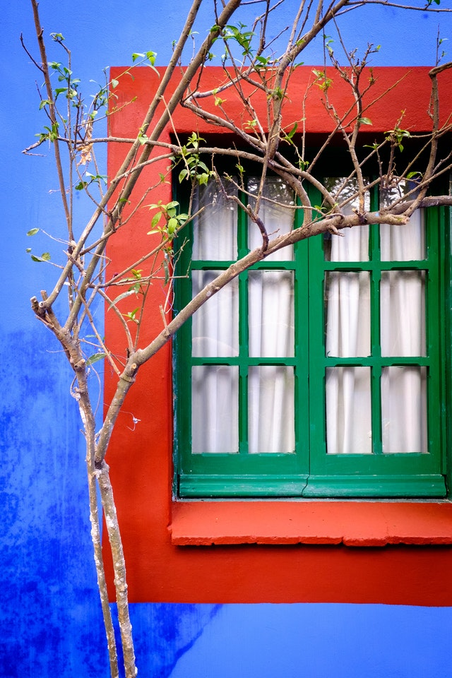 A very colorful green window on an equally colorful red and blue wall at the Frida Kahlo Museum.