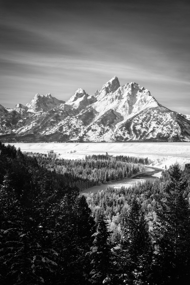 The Tetons and the Snake River, in winter.