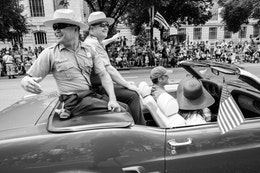 Park Rangers riding on a Mustang at the Independence Day Parade in Washington, DC.