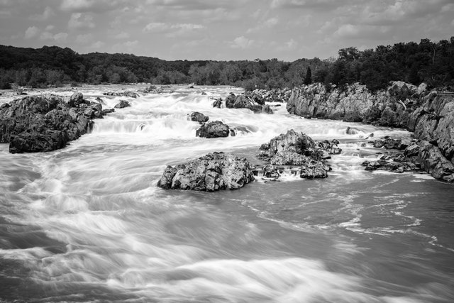 Long exposure photo of Great Falls, from the Virginia side.