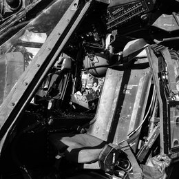 The copilot's seat on an MH-60M helicopter at the DC Armory.