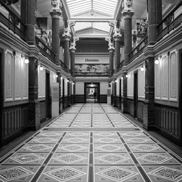 A hallway at the National Portrait Gallery in Washington, DC.