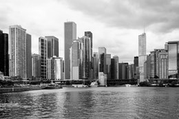 The Chicago skyline as seen from the Chicago Harbor Lock.