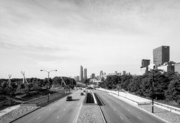 Columbus Drive, seen from the BP Pedestrian Bridge at Grant Park.