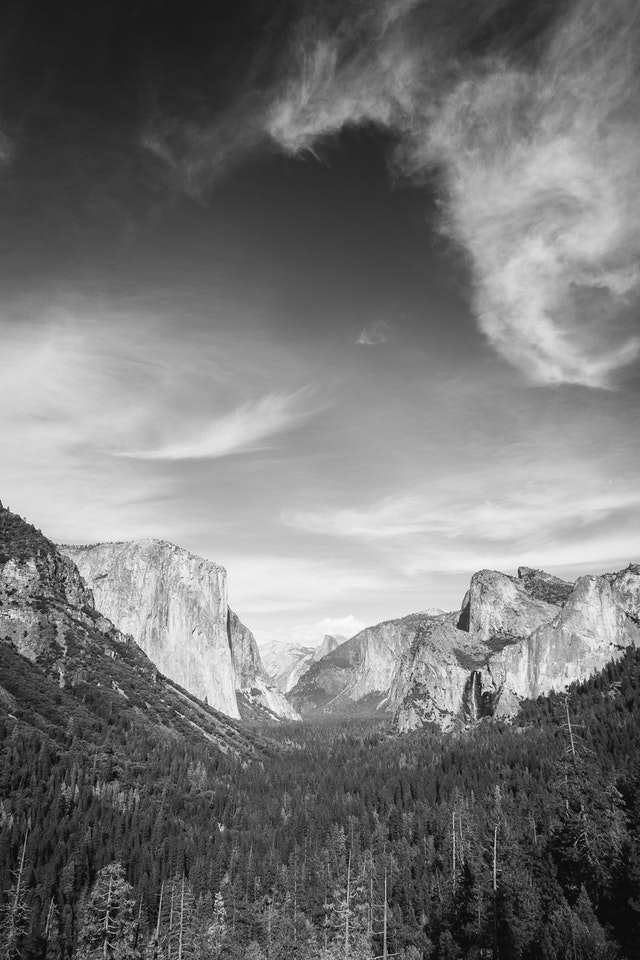 Yosemite Valley from the Tunnel View overlook.