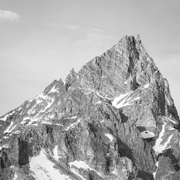 A close-up of Teewinot Mountain in the Tetons, as seen from String Lake.
