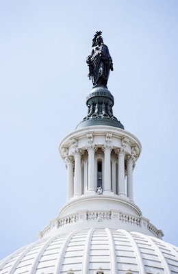 The Statue of Freedom, atop the United States Capitol dome.